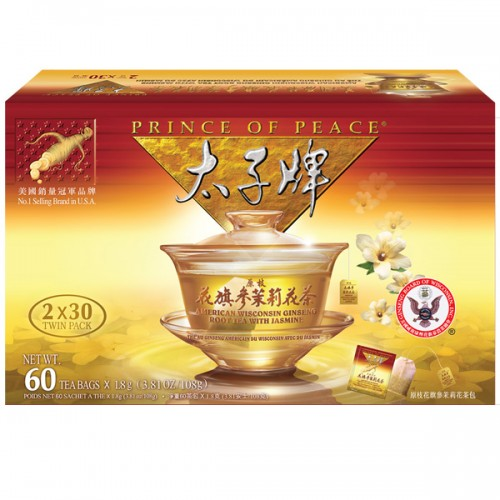 Prince of Peace Amercian Ginseng Tea with Jasmine 60 Bags